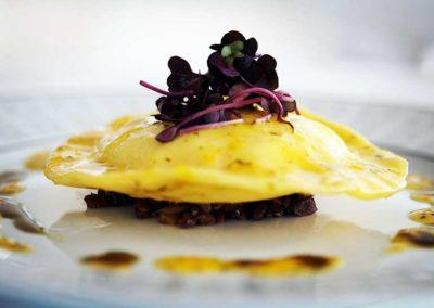 Potato and truffle chèvre ravioli,